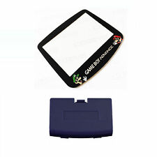 New INDIGO Game Boy Advance Battery Cover + Mario & Luigi Screen Lens GBA