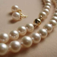 """Charm 8MM White Akoya shell Pearl Necklace + Earring AAA 18""""m1"""