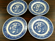 Blue Willow Ware Royal China Ironstone Dinner Plates Set of Four Dishes EXLT