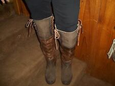 Freebird  Distressed Back Zip And Lace Up Over The Knee Boot WOMANS 10