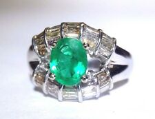 Top Quality 1CT Colombian Emerald and Diamond Baguette 18K White Gold Ring 6.5