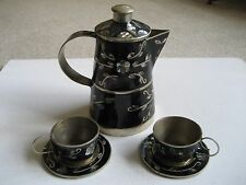 Vintage Mexico Alpaca Silver & Abalone Demitasse Tea Pot with Cups & Saucers