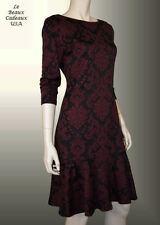 IVANKA TRUMP Women Dress Size 8 BLACK WINE FLARED HEM Knee 3/4 Sleeve Dressy NWT