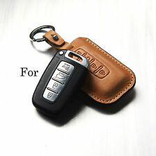 Handmade Leather Smart Car Remote Key case Holder/ K5 K7 Tucson Genesis/KIA /Fob