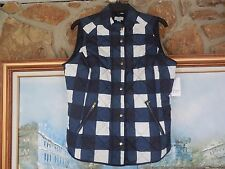 New Crown & Ivy Quilted Vest Navy Ivory  Sz M Medium Pockets Rt. $72.00 White