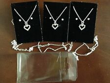 """JOB LOT -6 sets of diamonte heart pendant+18"""" sterling silver overlaid chain."""