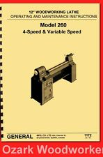 General Model 260 12″ Variable Speed Wood Lathe Operating & Parts Manual 1172