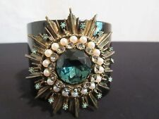 GERARD YOSCA Aqua Blue Jeweled Starburst Over Black Cuff Bracelet w/Faux Pearls