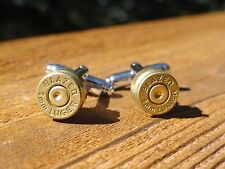 9mm Luger Cufflinks -- Ammo Ammunition Brass Bullet Caliber