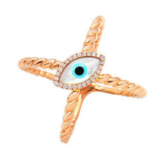WIDE 14K ROSE GOLD PAVE DIAMOND MOTHER OF PEARL HAMSA EVIL EYE COCKTAIL RING