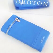 New OROTON Women's Bueno Soft Fold Wallet Purse Leather Port Blue Xmas Sale