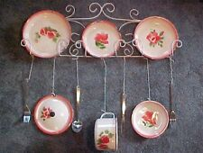 Large Enamel Ware Hand painted Rose Design Tin Plate Wall Hanging Decor