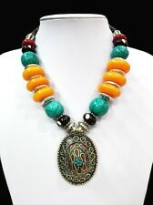 18'' Ethnic Pendant Chunky Necklace Tibet Silver Bright Amber Turquoise Bead