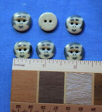 6 Large vintage China stencil buttons, cute little girl face
