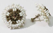 boucles d'oreilles à vis ancienne petite perle blanche bijou vintage * 3461