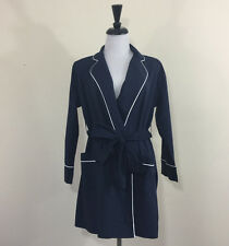 NWT J.CREW LADIES End-on-end cotton robe 03682 $88 navy pj lounge sz XXS/XS