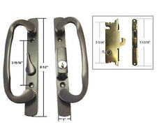 "Patio Door Handle Set with Mortise Lock, Bronze, Keyed, 3-15/16"" Screw Holes"
