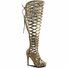 NEW LADIES HIGH STILETTO HEEL CUT OUT CAGED OVER KNEE HIGH  BOOTS PEEP TOE SIZE