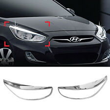 For HYUNDAI 2011-2017 Accent Verna Solaris Chrome Head Lamp Garnish Molding Trim