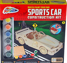 Build And Paint Your Own Sports Car Wooden Kids Construction Craft Kit