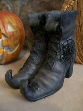 "NIB 8.5"" Realistic WITCH Shoe BOOTS Spider Web HALLOWEEN PROP Decor Candle hldr"