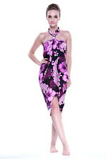 Jumbo Plus Size Tropical Cruise Beach Luau Sarong Wrap Dress Pareo Black Purple