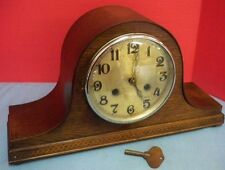 Antique Wood Mantle Clock Napoleon Hat Chime Key Glass Face Cover Untested As Is