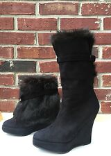 Opening Ceremony 2 In 1 Black Suede Fur Buckle Wedge Tall / Ankle Boots 37 RARE*