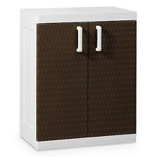 Toomax Rattan Medium 2-Door 2-Shelf Indoor Outdoor Storage Cabinet