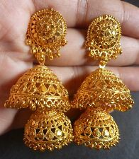 22K Gold Plated 5 cm Long 2 Steps Indian Wedding Ball Bead Jhumka Earrings Set
