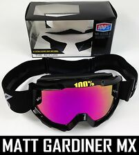 100% PERCENT ACCURI MX MOTOCROSS GOGGLES PURE BLACK with PINK MIRROR LENS bmx