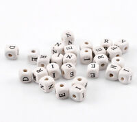 25 x 10mm Natural Cream Colour Mixed Letter Cube Wooden Beads Craft Beading U89