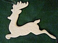 "Christmas Leaping Stag/ Deer Glitter Sparkle Porcelain Ornament White 4 3/4"" W"