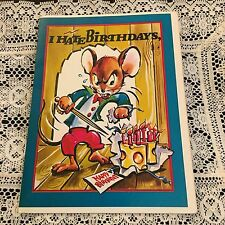 Vintage Greeting Card Birthday Mouse Cheese Sword