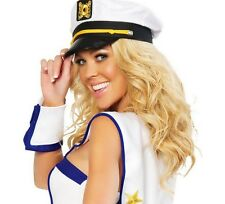 Fashion Women Men Captain Skipper Sailor Hats Police White Hat Cap Costume - LD