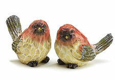 New Pair Red Birds Figurines Sculpted Faux Wood GIFT by burton+BURTON