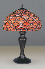BEST QUALITY - TIFFANY STYLE REAL STAINED GLASS TABLE LAMP - 17'' WIDE SHADE