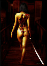 Sexy girl naked with Japanese;sword HD oil painting print on canvas8x12