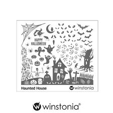 Winstonia HAUNTED HOUSE Nail Art Stamp Stamping Image Plate Polish Halloween Fun