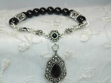 Black Bead Stretch Bracelet Marcasite Look Charm Fashion Jewelry New