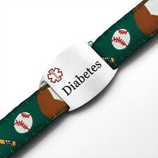 Diabetes Medical ID Childs Baseball Sport Strap Bracelet 4 - 8 Inches - AA1338