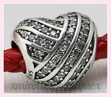GENUINE PANDORA PAVE LOVE LINES HEART CHARM SILVER  S925 ALE WITH POUCH