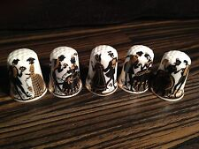 Thimbles -  Set of 5, Black & Gold Figurines - Bone China - Made in Britain (B5)