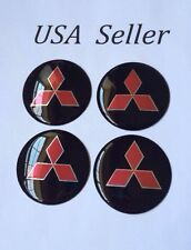 4pcs Mitsubishi 3D Wheel Center Aluminum Black Caps Stickers Emblems 56mm/2 1/4""