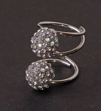 FUN MODERN SILVER TONE STATEMENT RING BIG SPARKLING RHINESTONE BALLS (CL24)