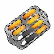 Marx Deluxe 8 Mini Cheesecake Pan, Oblong Tart, Hot Dog Bun Pan with Removable