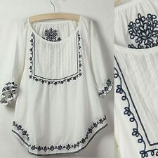 Women Vintage Embroidered Boho Hippie Ethnic Tent Mini Top White Tunic Blouse