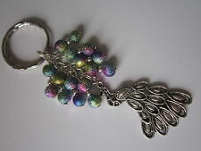 Keyring / Bag Charm - Tibetan Silver Peacock with Multicoloured Stardust Beads