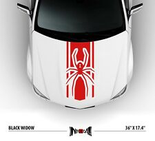 BLACK WIDOW LOGO SPIDER Avengers Hood Race Stripes JDM Car Vinyl Sticker Decal