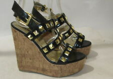 """NEW Black 5.5""""high wedge heel open toe strap Gold stud sexy shoes SIZE. 6 P"""